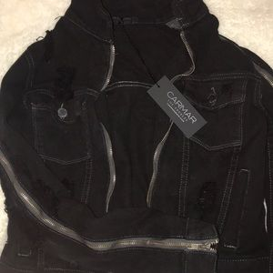 Carmar black denim zip jacket